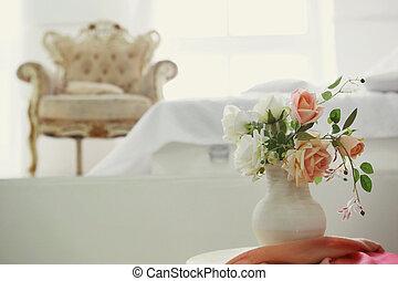 内部, 肘掛け椅子, 白, レトロ, 寝室