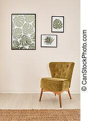 内部, 肘掛け椅子, 緑, 保温カバー