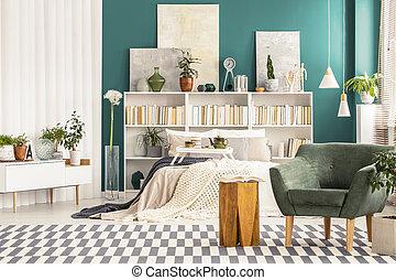 内部, 肘掛け椅子, 緑, 寝室