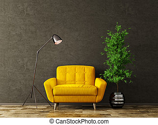 内部, 肘掛け椅子, 3d, 黄色, レンダリング