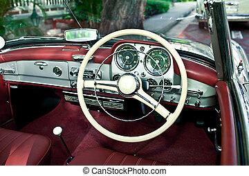内部, 自動車, 古い, レトロ