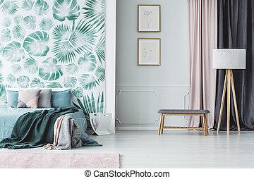 内部, 葉, 緑, 寝室
