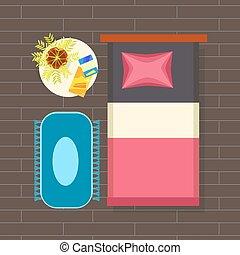 内部, 計画, ベクトル, イラスト, 寝室