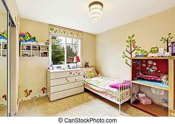 内部, 象牙, 子供, 柔らかい, 部屋