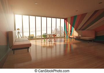 内部, 部屋, カラフルである