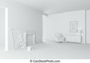 内部, 部屋, 3d, 美しい