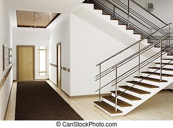 内部, 階段, 3d