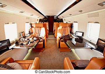 内部, 飛行機, 私用