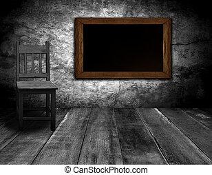 内部, 黒板, 椅子, 部屋