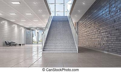 内部, 3d, ホール, イラスト, 階段。