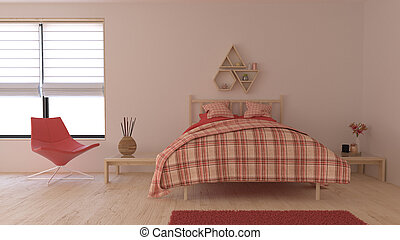 内部, 3d, 現代, 寝室