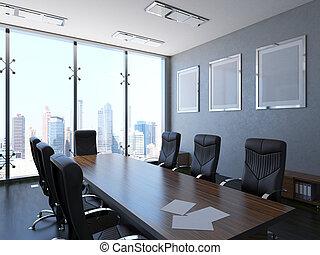 内部, 3d-rendering, オフィス