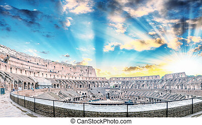 内部, colosseum, ディスク, rome.