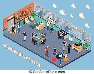 内部, coworking, 等大, 中心