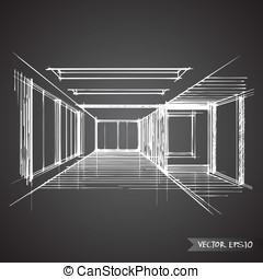 内部, desig, ベクトル, 部屋, 空