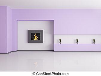 内部, emty, 暖炉, render, 3d