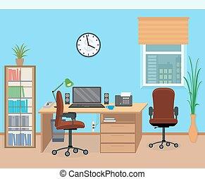 内部, equipment., 部屋, オフィス家具