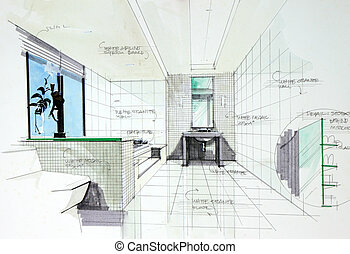 内部, perspetive, 浴室, 引かれる, 手