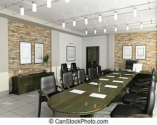 内阁, 在中, the, 主任, 家具, 办公室, 谈判, 3d, 内部