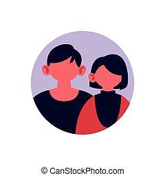 円フレーム, カップルの 肖像画, 身元を隱した