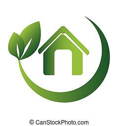 円形にされる, のまわり, eco, 葉, ブランチ, 家