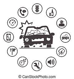 円形にされる, アイコン, 単純である, 自動車, set., accidents., ベクトル, デザイン, 保険, 原因, アイコン
