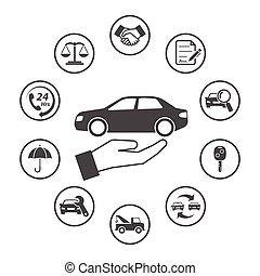 円形にされる, アイコン, 単純である, set., ベクトル, デザイン, 自動車, アイコン