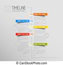 円形にされる, タイムライン, ラベル, infographic, テンプレート, レポート