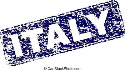 円形にされる, 切手, 枠にはめられた, グランジ, イタリア, 長方形
