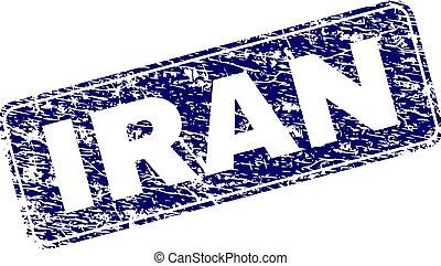 円形にされる, 切手, 枠にはめられた, グランジ, イラン, 長方形