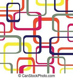円形にされる, 色, パターン, -, ベクトル, レトロ, 背景, 正方形