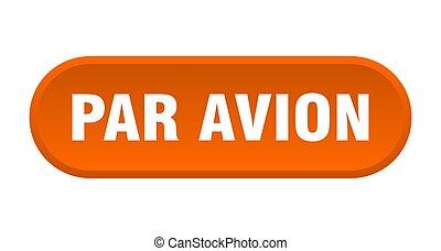 円形にされる, avion, パー, 白い背景, button., 印
