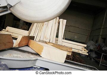 円形のソー, 切断, a, 木, 板