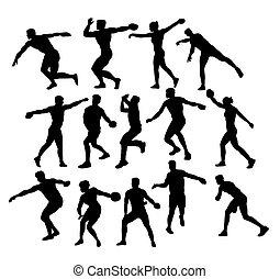 円盤, 運動選手, 投げる人, シルエット, 活動, スポーツ