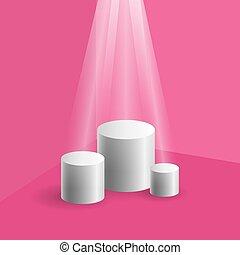 円筒状である, 演壇, コーナー, ピンク