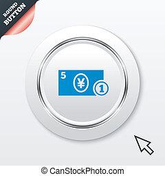 円, お金, 現金, シンボル。, coin., icon., 印