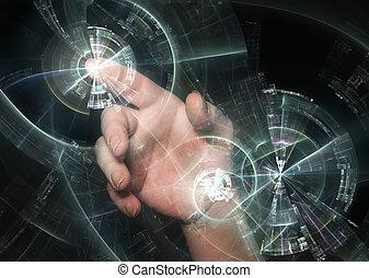 円, の後ろ, 光沢がある, 指すこと, 手
