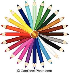 円, の, カラードの鉛筆