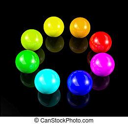 円, の, 3d, カラフルである, ボール