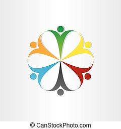 円, アイコン, チームワーク, シンボル, 人々
