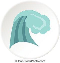 円, アイコン, 海洋 波