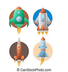 円, セット, カラフルである, に対して, 4, ロケット, 白