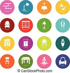 円, セット, カラフルである, アイコン, ベクトル, 内部, 家具