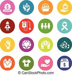 円, セット, カラフルである, アイコン, ベクトル, 慈善