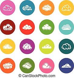 円, セット, カラフルである, アイコン, ベクトル, 雲