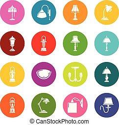 円, セット, カラフルである, アイコン, ランプ, ベクトル