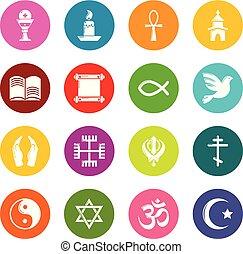 円, セット, カラフルである, アイコン, 宗教, ベクトル