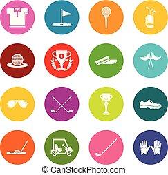 円, セット, ゴルフ, カラフルである, アイコン, ベクトル