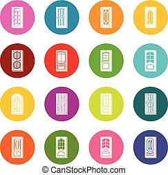 円, セット, ドア, カラフルである, アイコン, ベクトル