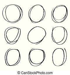 円, セット, 手, 背景, 引かれる, 白